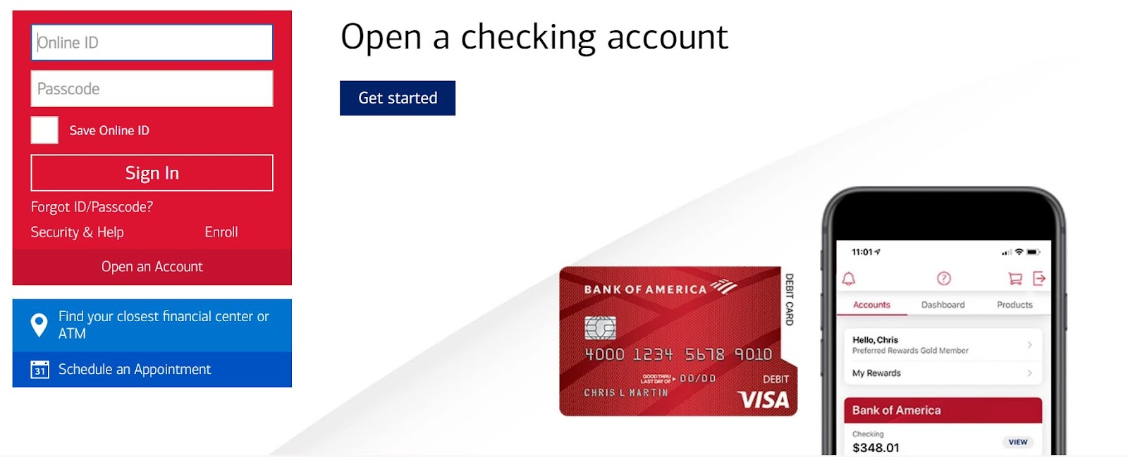 Open a checking account at Bank of America for fast financial transactions