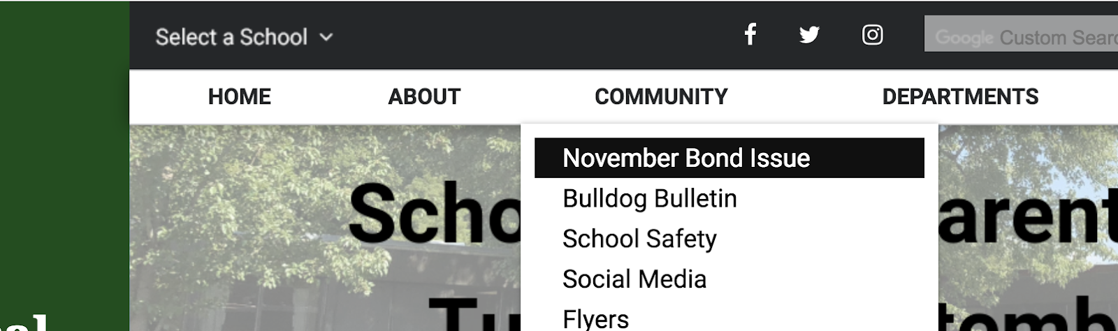 Screenshot of the website with the november bond issue link highlighted