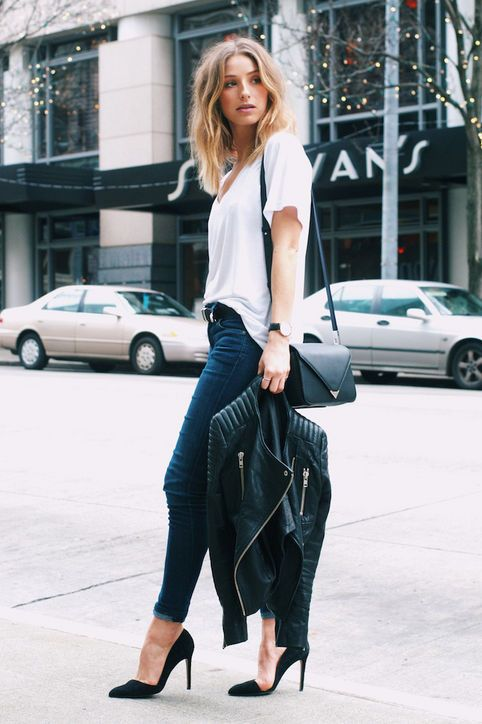 girl wearing white shirt with skinny jeans and petite black leather jacket
