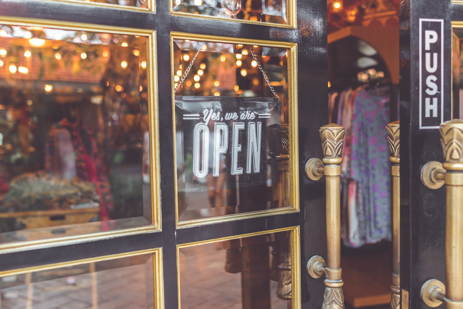 Shop window with open sign up