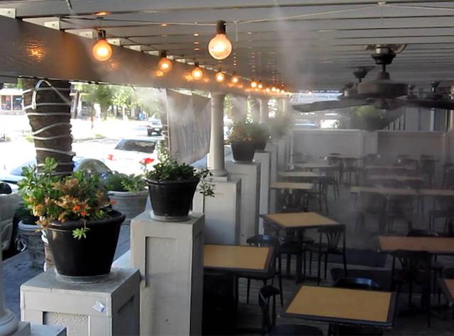 Máy phun sương quán cafe có hiệu quả làm mát cao