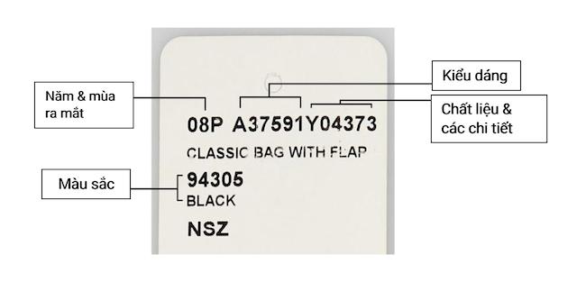 Mã kiểu dáng túi Chanel gồm có 6 ký tự với chữ A bắt đầu