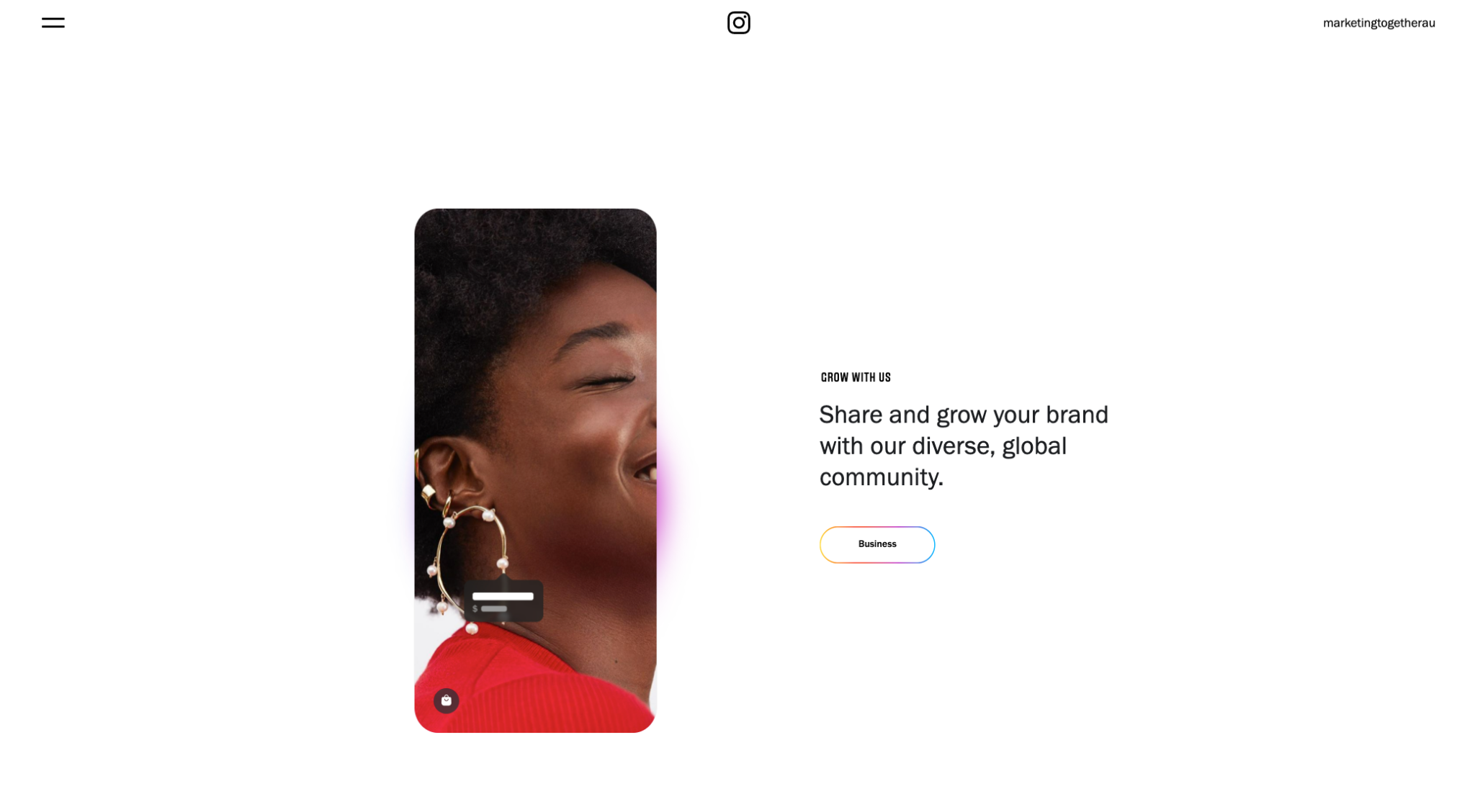 Screenshot of the instagram website homepage showing a dark skinned woman wearing a bright red top with golden earrings