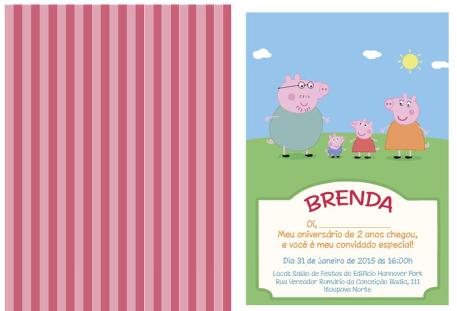 convite de aniversário tema Peppa Pig