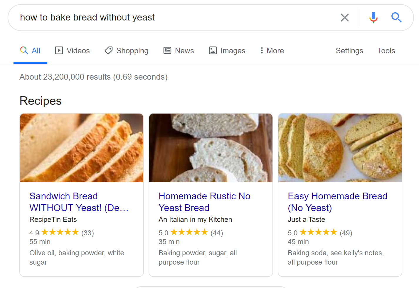 Recipe rich result cards on Google. This was a breakout term in March when it seemed like everyone wanted to learn how to bake bread.