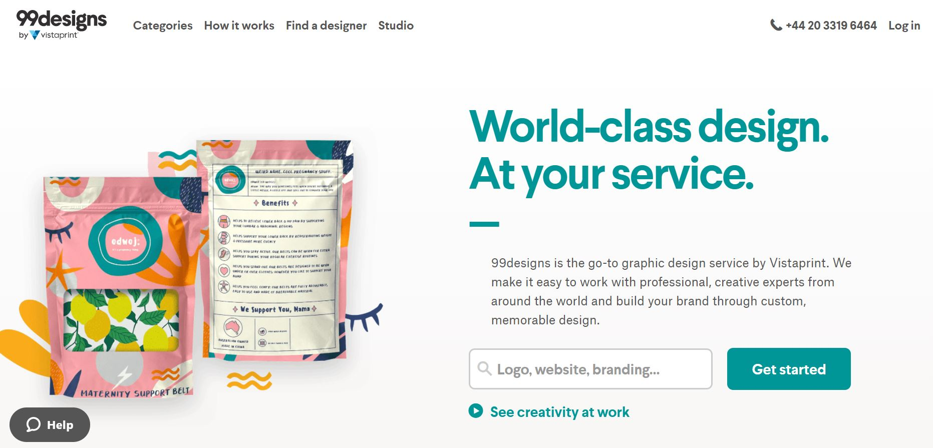 99designs webpage screenshot