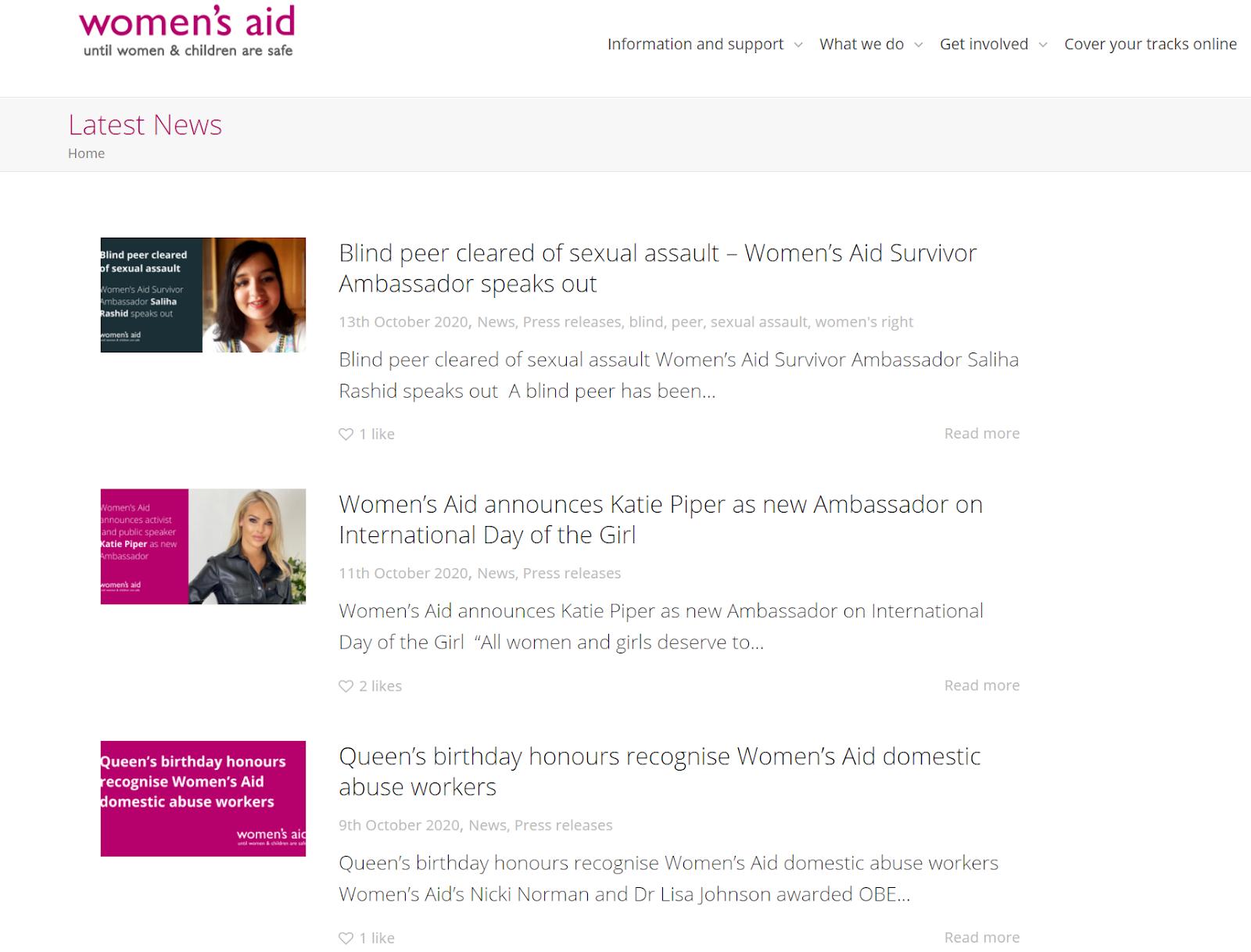 Screenshot of Women's Aid charity blog.