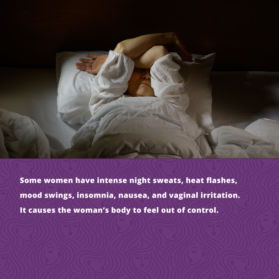 During perimenopause, Some women have intense night sweats, heat flashes, mood swings, insomnia, nausea, and vaginal irritation.
