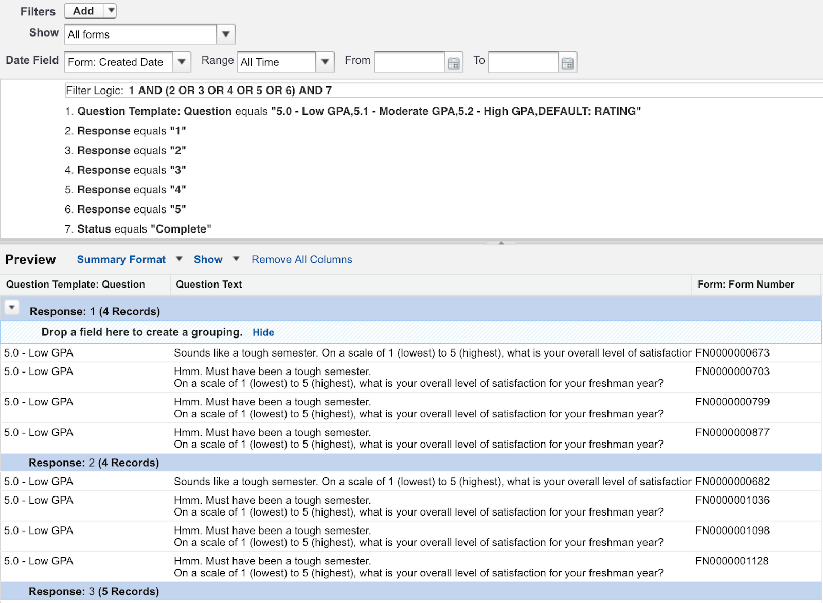 Building the Report for Level of Satisfaction with the Classic Report Builder view