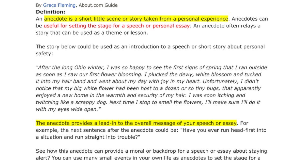 Narration Essays Define An Anecdote Google Docs Ottoman Empire Essay also To His Coy Mistress Essay Anecdote Essay Persuasive Essay Outline Gravy Anecdote Example Of An  Violence In Society Essay