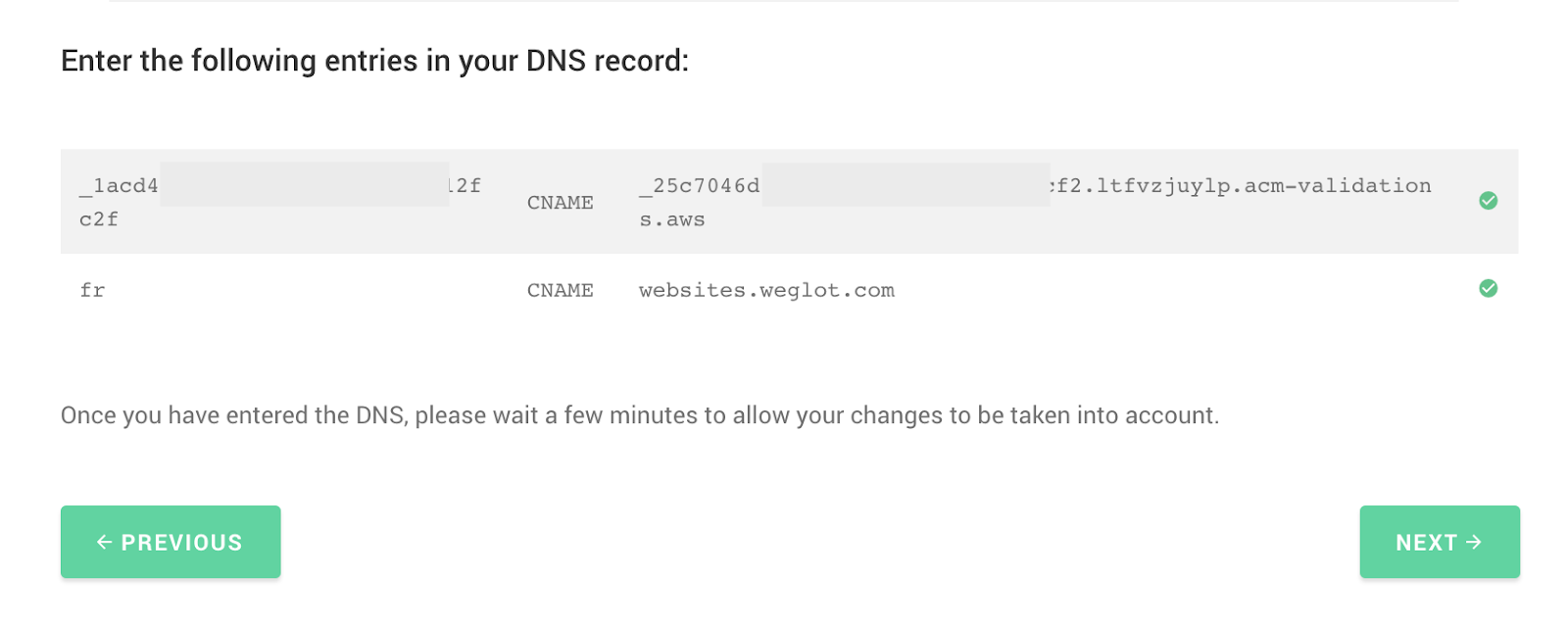 DNS entries for weglot + ghost integration