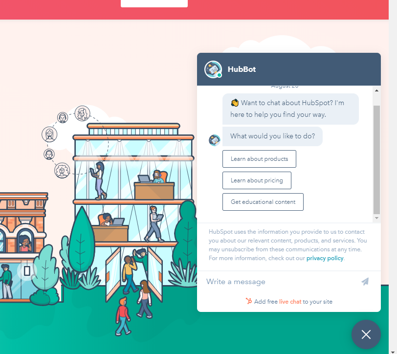HubSpot chatbot expanded to full view