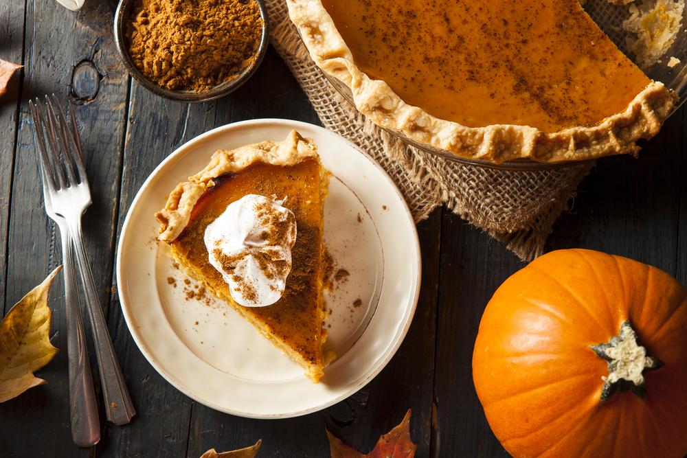 a fresh slice of pumpkin pie