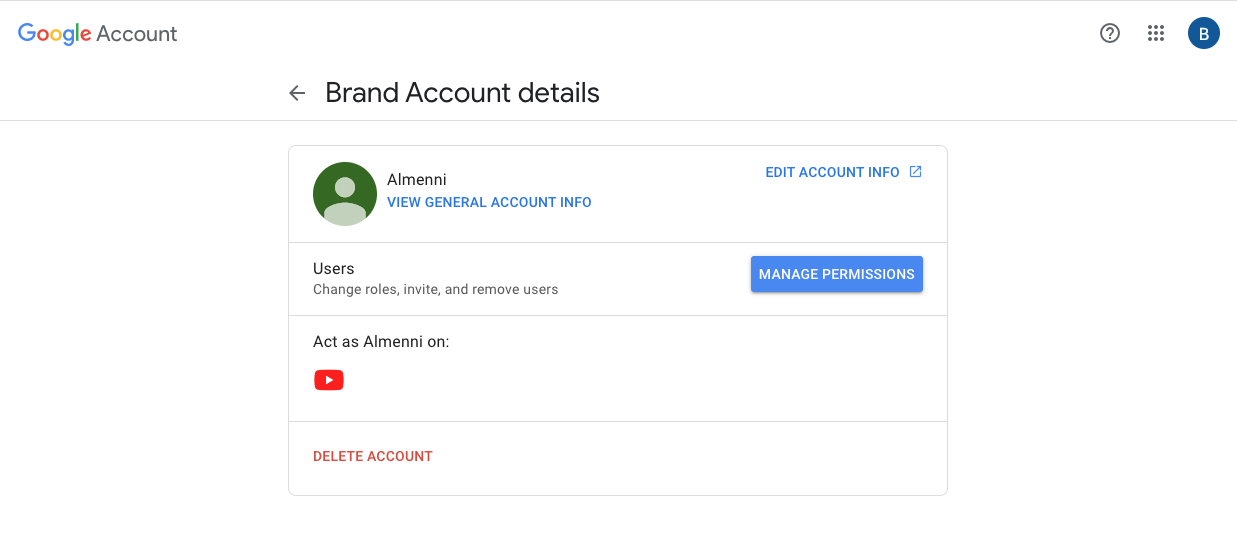 How to manage permissions in a youtube account