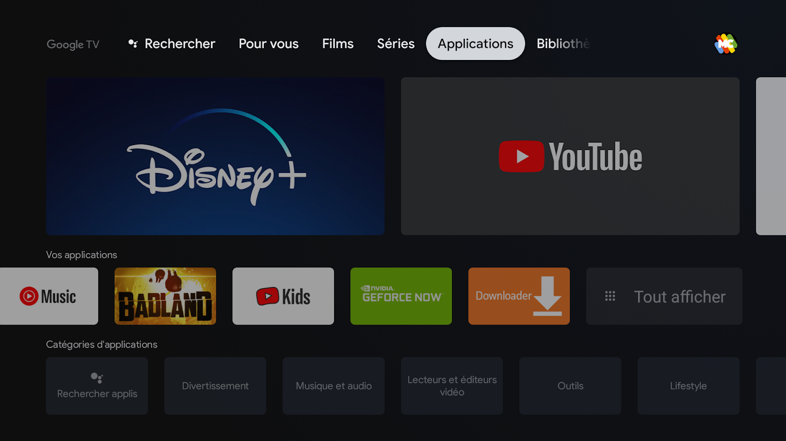 Accueil Mes applications de Google TV