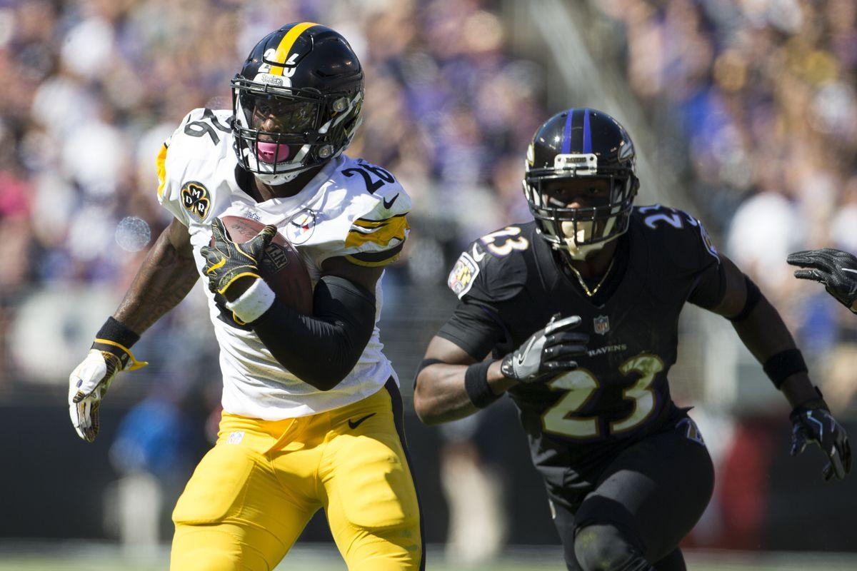 Le'Veon Bell has a great rushing day against Baltimore's defense in Week 4. (Getty Images)