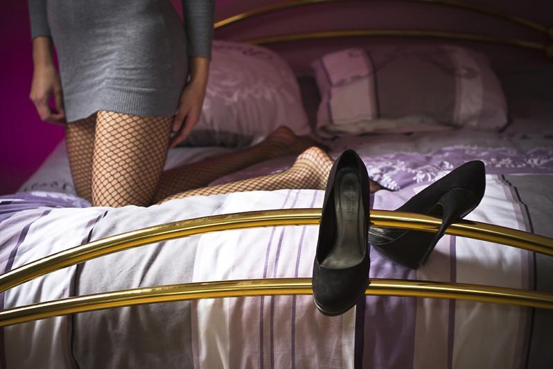 bed with high heels