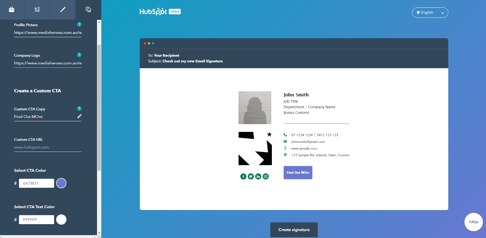 Hubspot email generator: CTA example