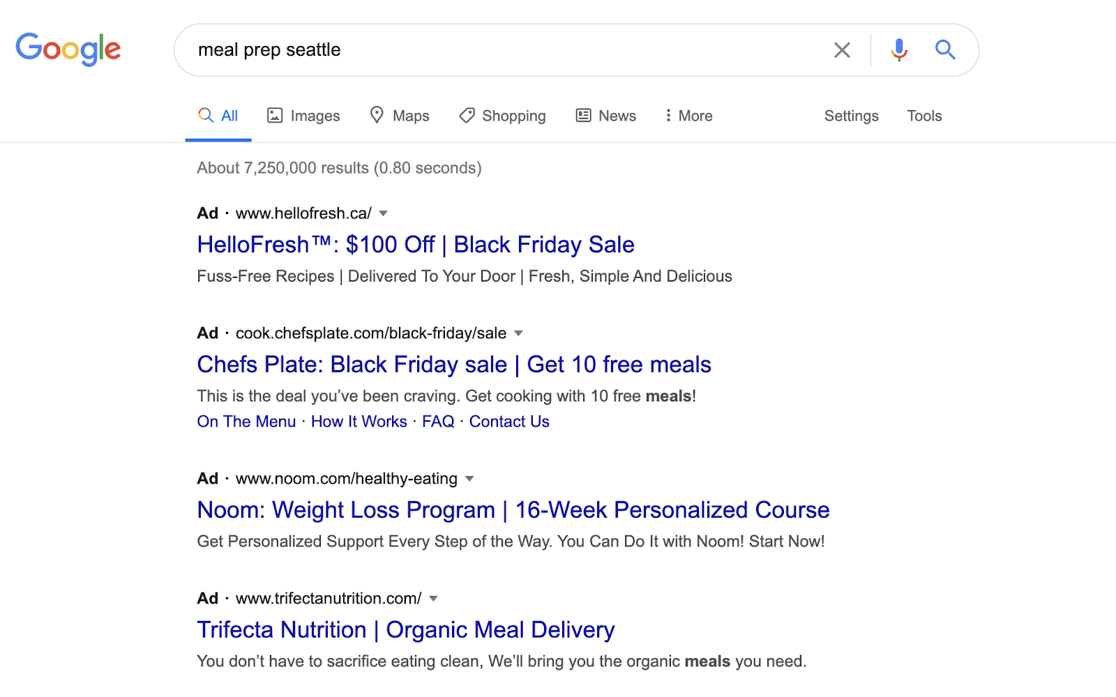 Google search results showing meal prep Seattle.
