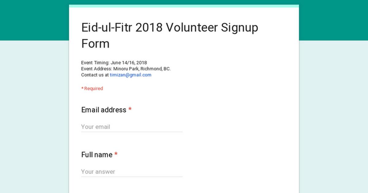 eid ul fitr 2018 volunteer signup form