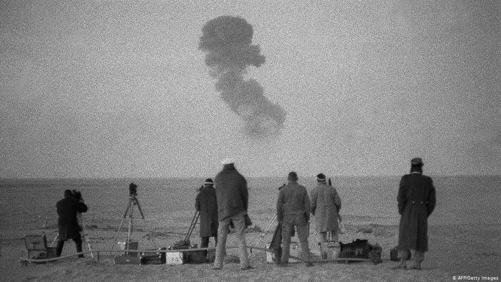 """ReDa Amrani on Twitter: """"On this day, in 1960 #France conducted above  ground atomic bomb testing in Raggane in #Algeria, code named """"Gerboise  Bleue"""". To this day, local population suffers a cancer"""