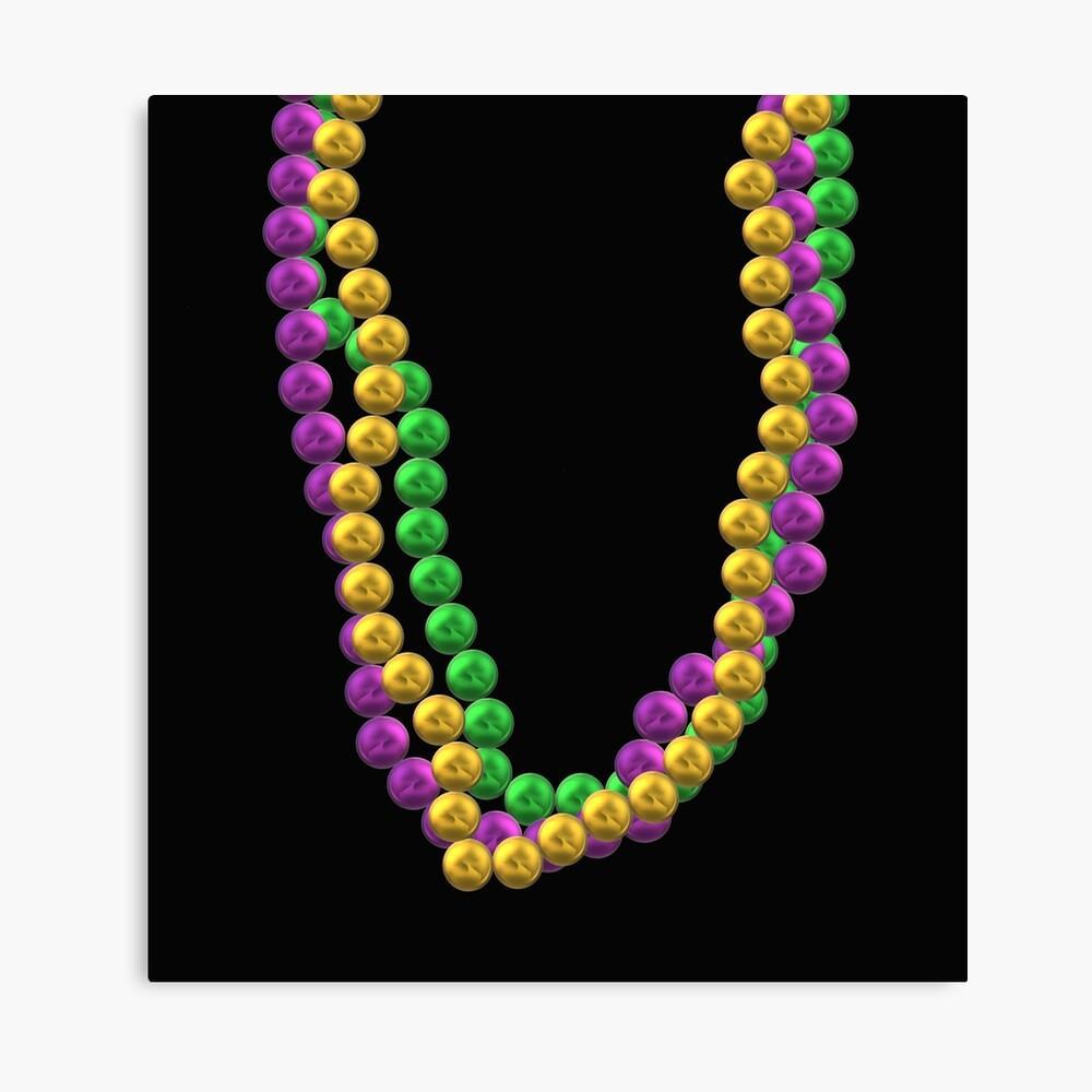 Lámina metálica «Collares de cuentas de carnaval en púrpura, verde y oro»  de ArtByLM | Redbubble