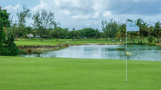 this image displays a water hazard at barbados golf club