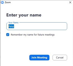 Zoom - Enter your name