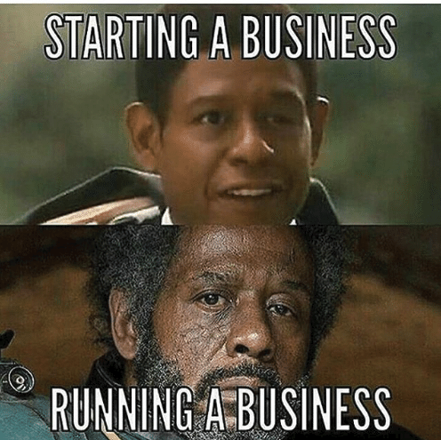 Two pictures depicting the physical difference of a businessman