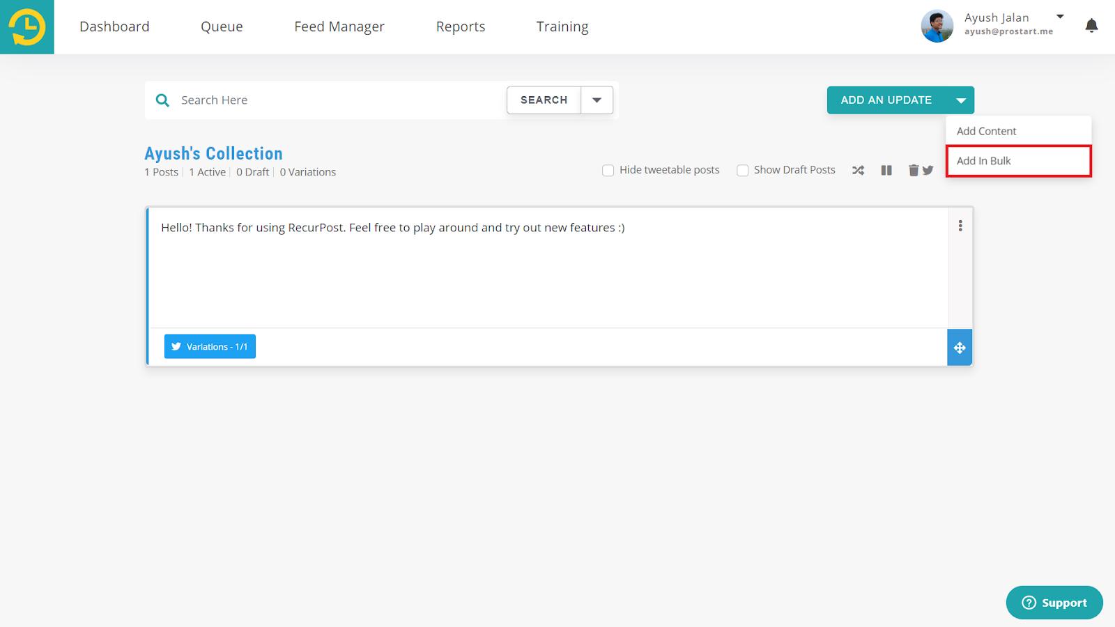 select library for bulk update - recurpost - social media scheduler