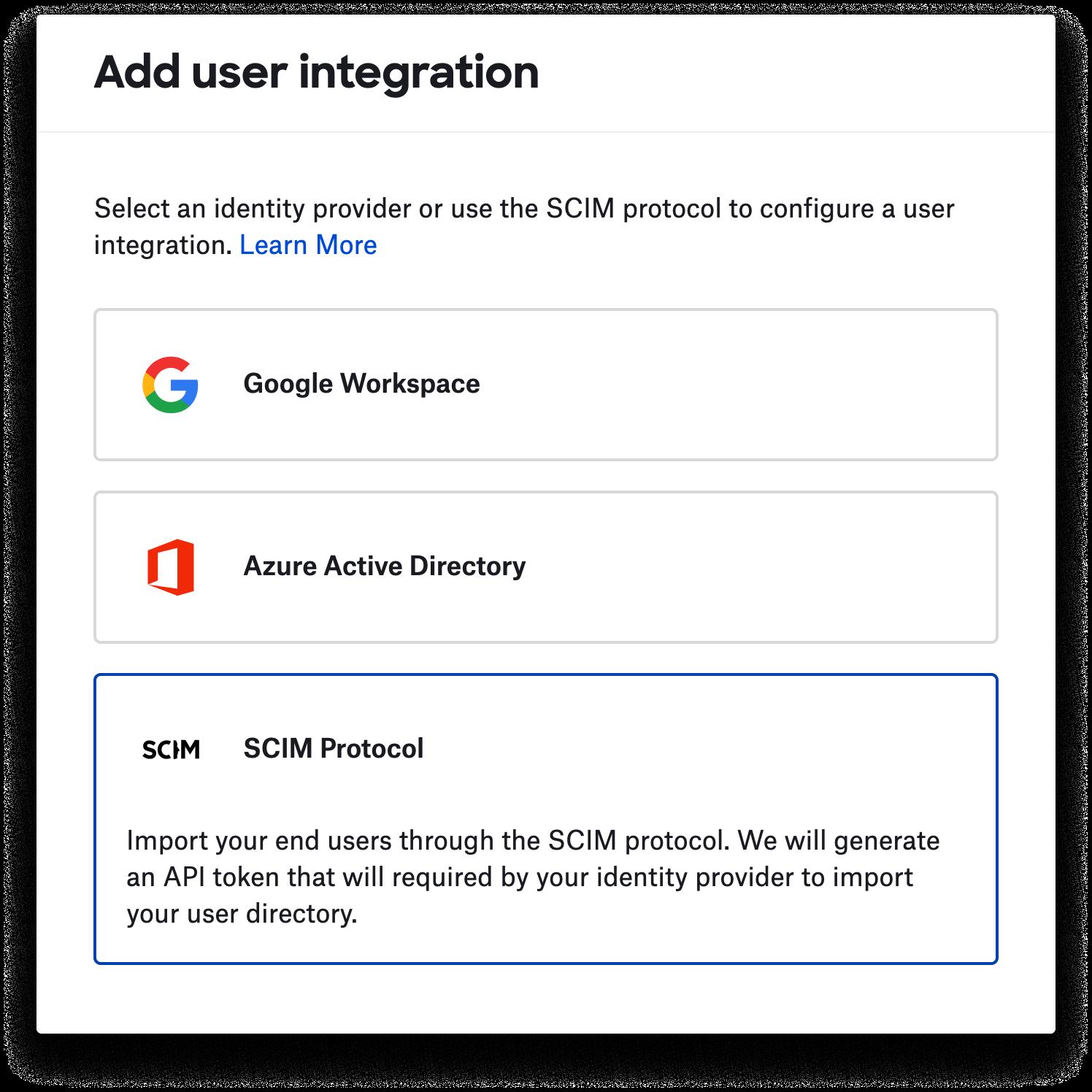 Adding a new user integration.