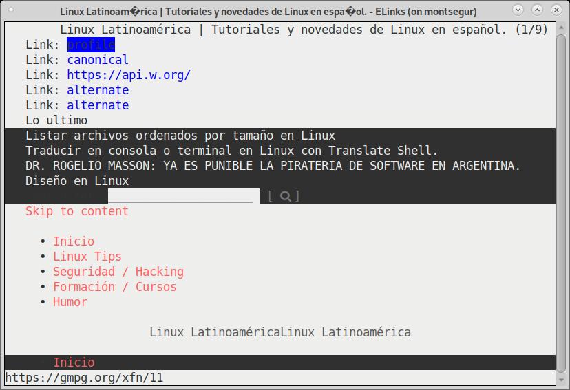 abrir paginas con elinks linux