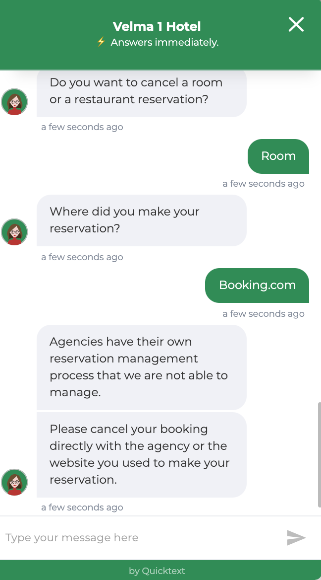 Hotel chatbot redirects OTA bookers to the OTA in the case of a room cancellation.