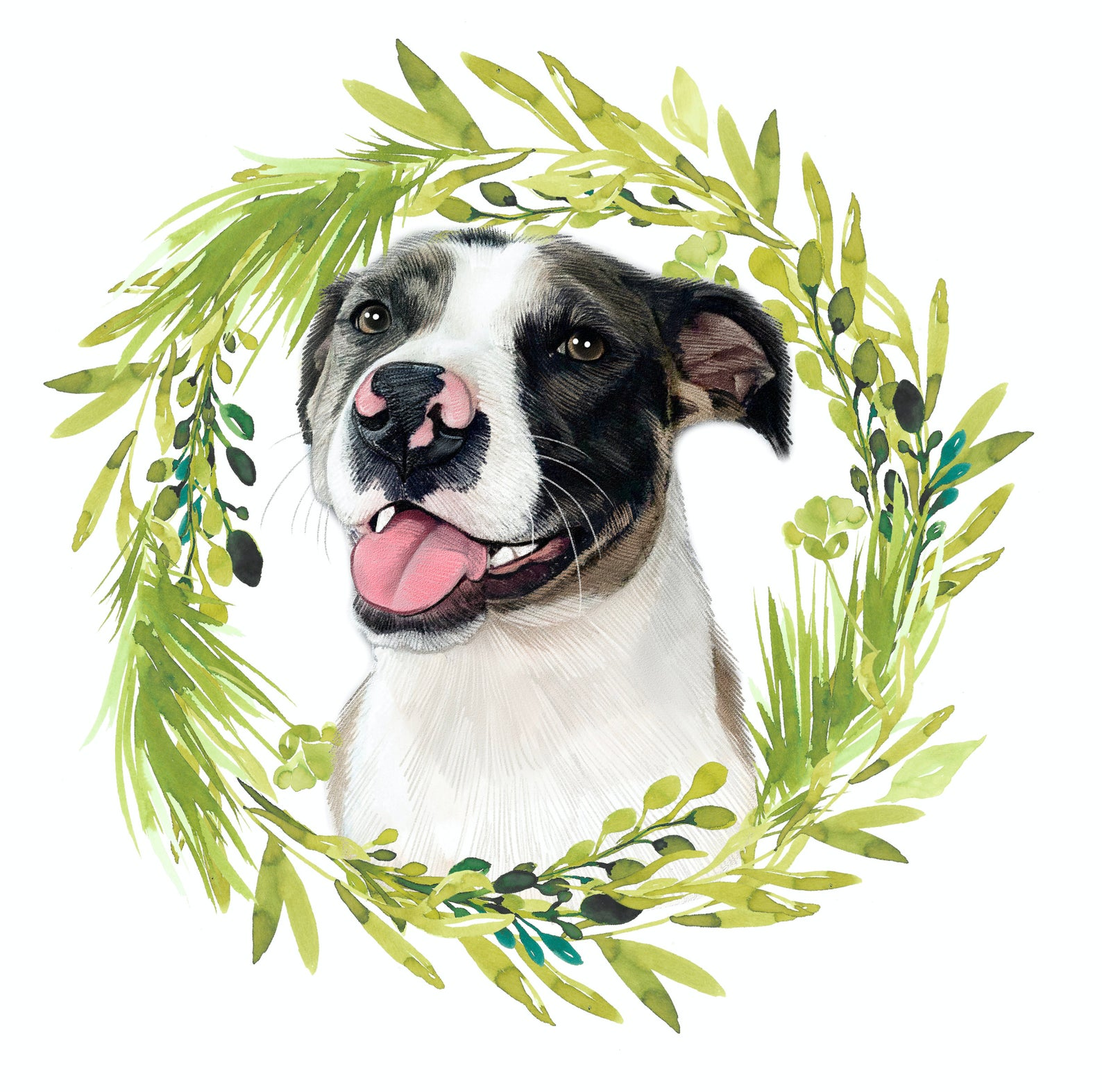 A piece of digital art in colored pencil style that features a smiling bully breed dog framed by a circle of greenery.