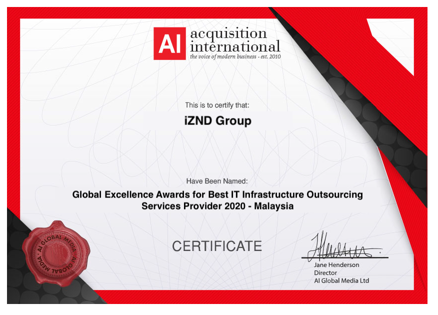 iZND Group Certificate for Global Excellence Award 2020