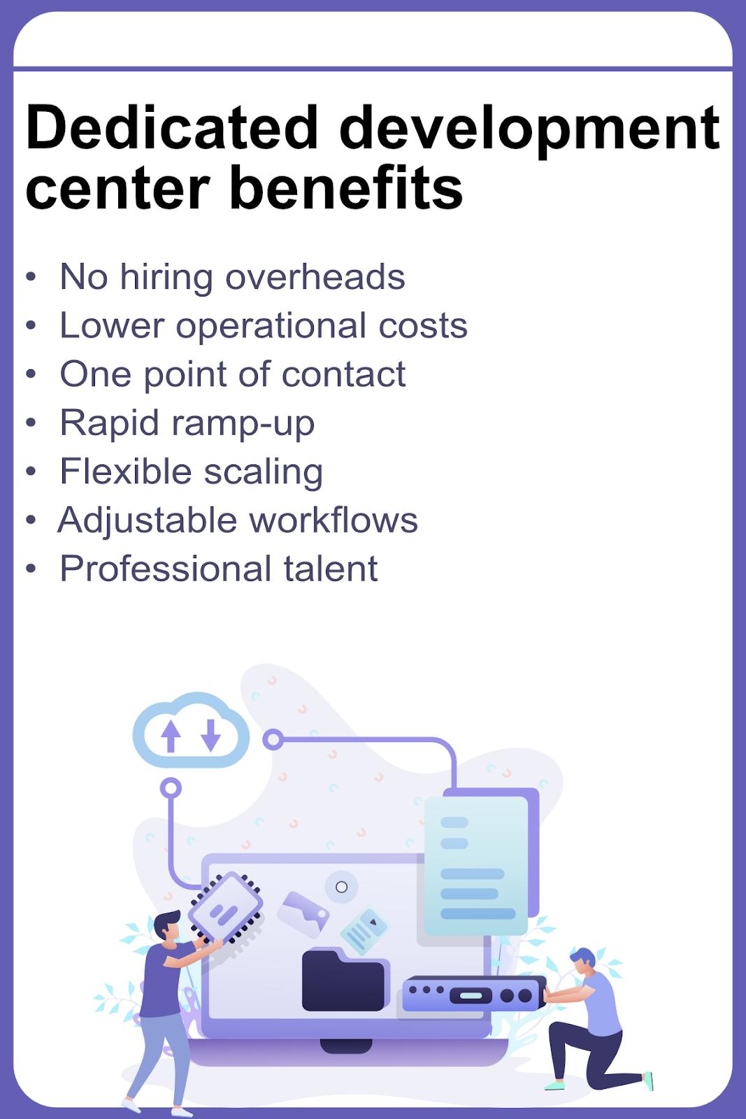 Dedicated development center benefits list