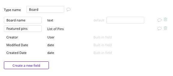 Site tipo Pinterest - Tipos de dados e campos