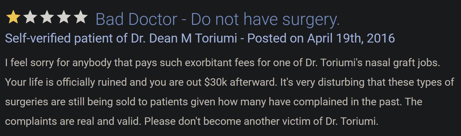 Dr. Dean Toriumi review 2