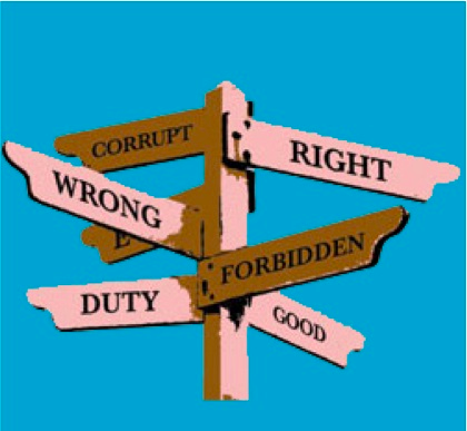 "Signpost pointing to ""right"", ""wrong"", ""good"", ""corrupt"", ""forbidden"""