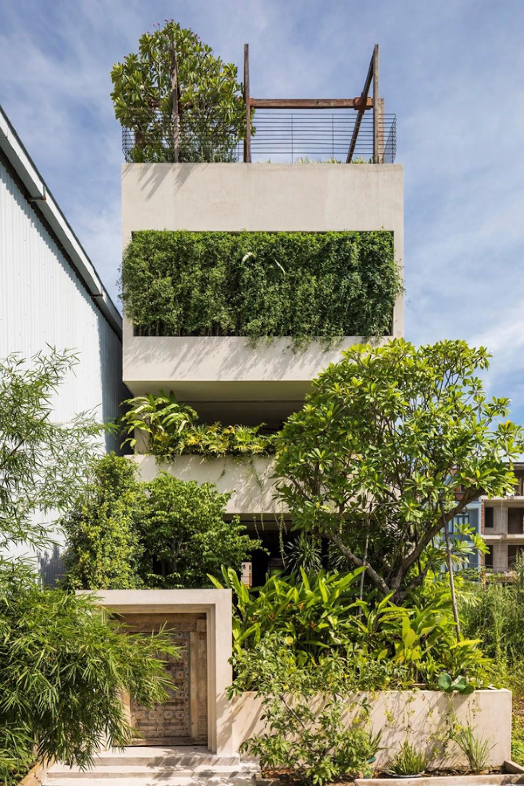 Mẫu nhà 3 tầng 4 phòng ngủ phủ kín cây xanh