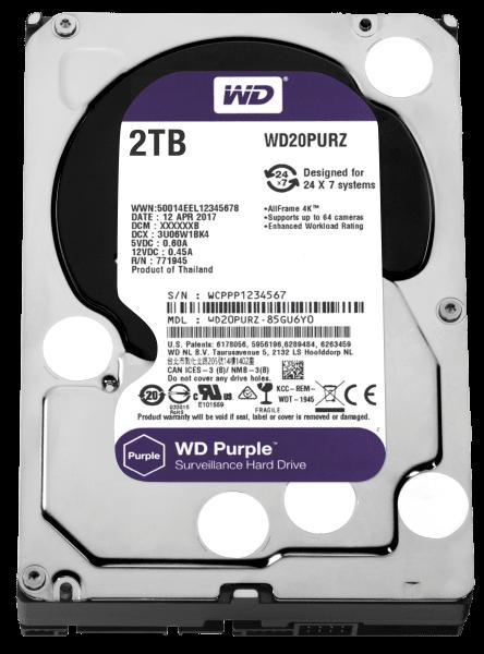 универсальность WDC HDD SATA 2TB 6GB/S 64MB/PURPLE (WD20PURZ)
