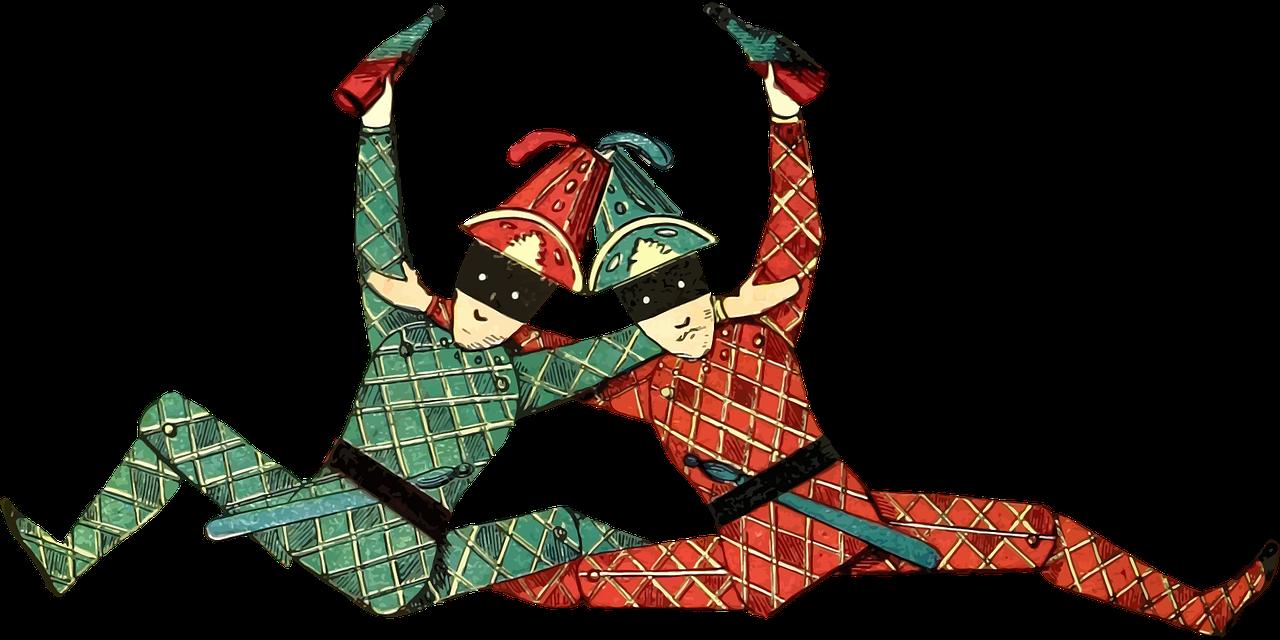 Two cheerful jokers.