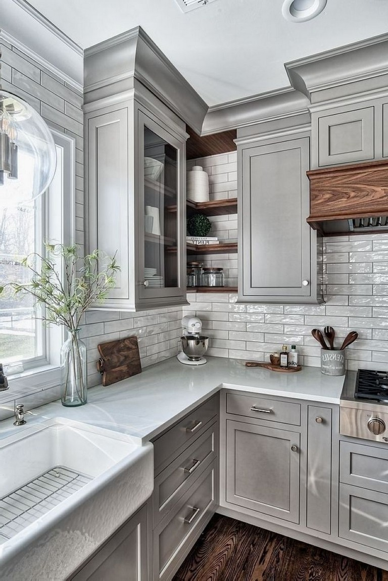 modern rustic kitchen with grey inset shaker cabinets white tile backsplash silver knobs and pulls