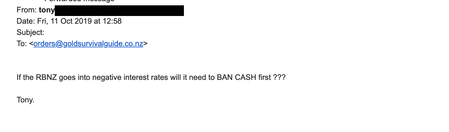 If the RBNZ goes into negative interest rates will it need to BAN CASH first???