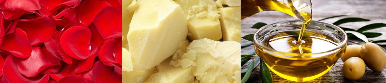Ingredients: Organic shea butter, rose petals, fragrance, olive oil, soybean oil, coconut oil, corn oil, sunflower oil, sodium hydroxide