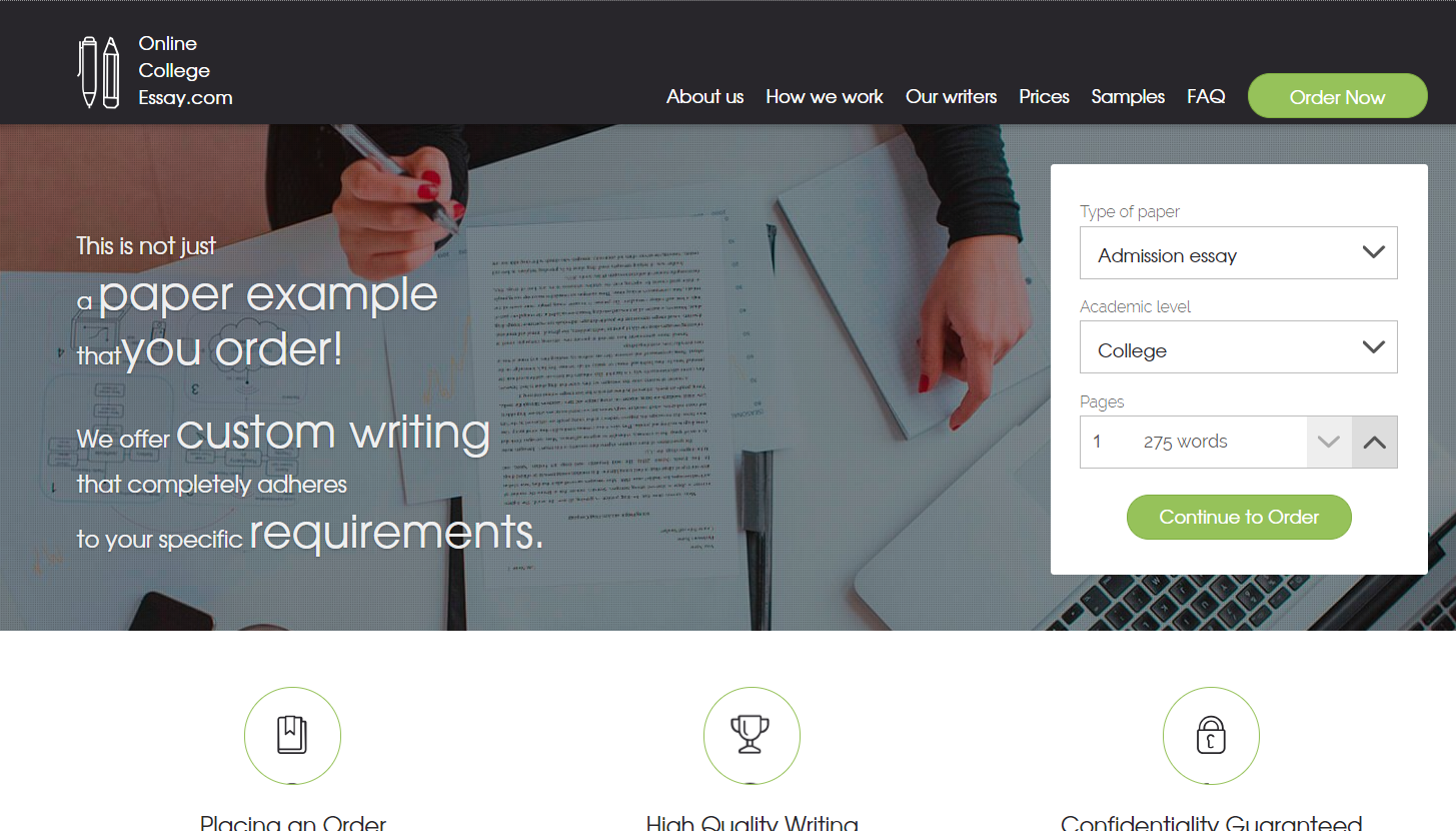 Essay writing service college admission
