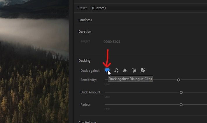 Premiere Pro - Confirm 'Duck against Dialogue Clips' enabled