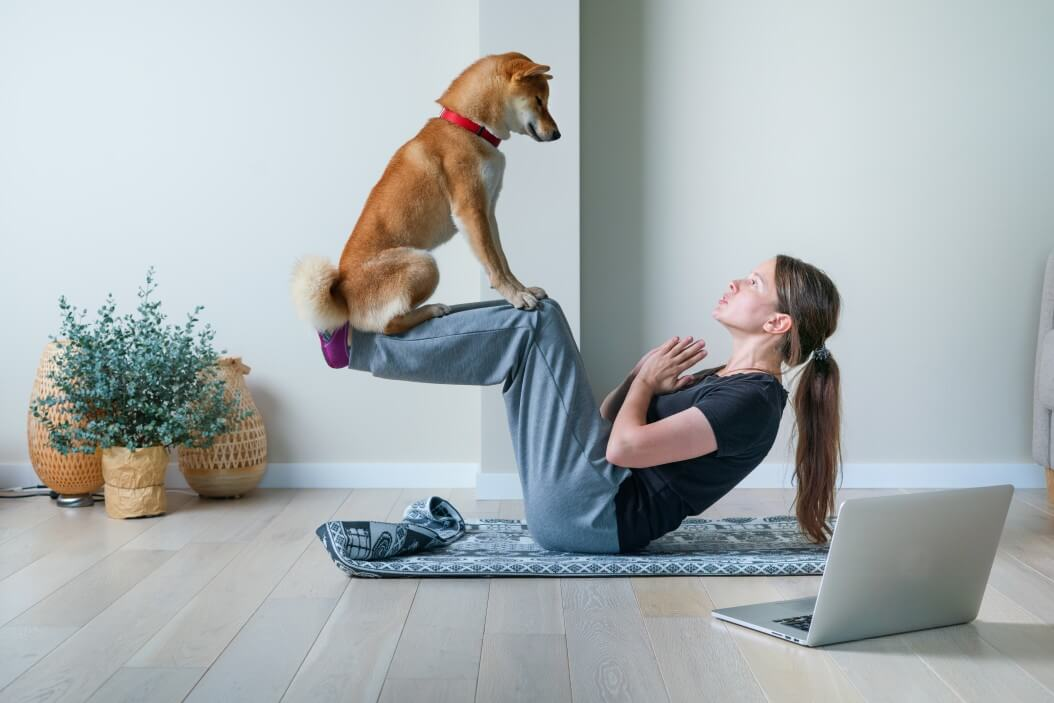 How to create a personal fitness plan at home. Woman doing yoga at home with dog.