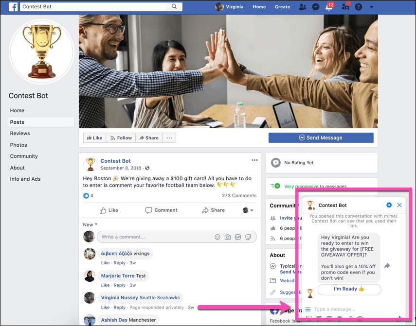 run a Facebook contest using Messenger