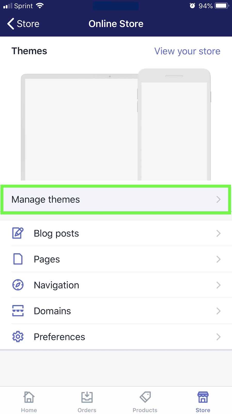 Shopify mobile app manage themes